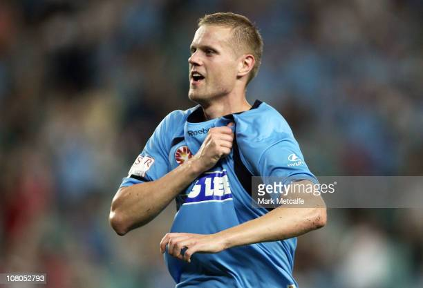 Juho Makela of Sydney celebrates scoring a late equalizer during the round 23 ALeague match between Sydney FC and the Melbourne Victory at Sydney...