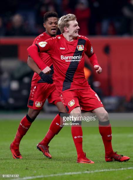 Juian Brandt of Leverkusen celebrates after he scores the equalizing goal during the DFB Cup quarter final match between Bayer Leverkusen and Werder...