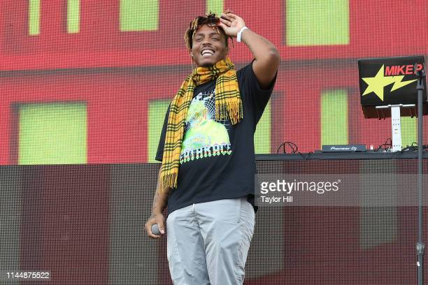 Juice Wrld performs at the 2019 InfieldFest during the 144th Preakness Stakes presented by The Stronach Group at Pimlico Race Track on May 18 2019 in...