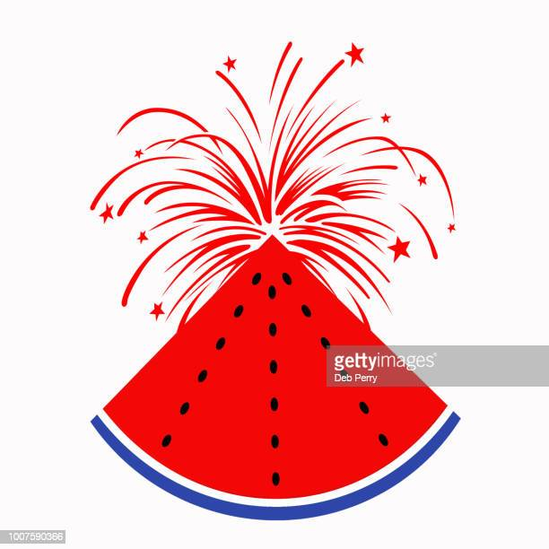 Juicy, exploding watermelon slice on white background