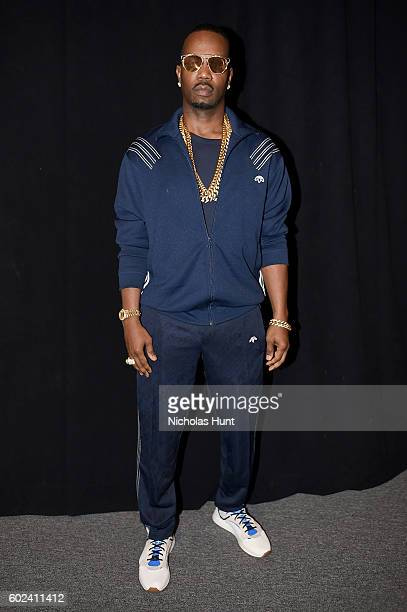 Juicy J attends the Hood By Air fashion show during New York Fashion Week The Shows at The Arc Skylight at Moynihan Station on September 11 2016 in...
