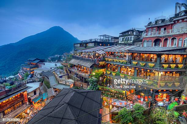 juifen teahouses in the evening - taiwan stock photos and pictures