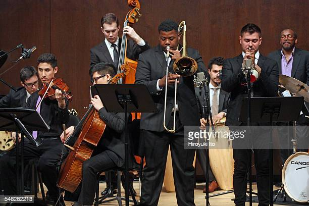 """Juilliard Jazz Ensemble performing the music of Israel """"Cachao"""" Lopez at Paul Hall on March 30, 2015.This image:From left, Lake Jiroudek, Alexander..."""