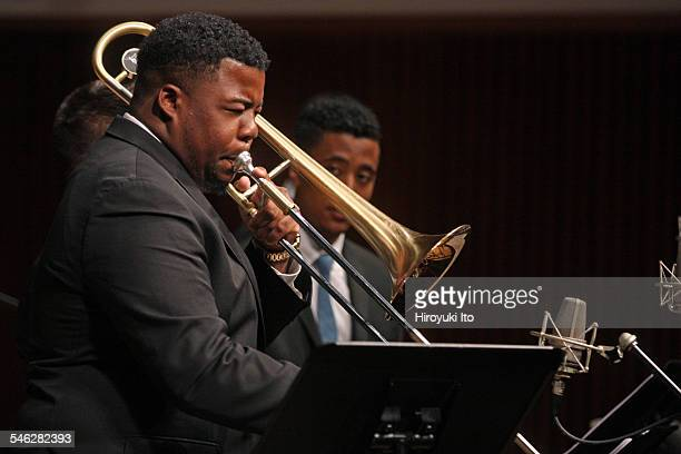 Juilliard Jazz Ensemble performing the music of Israel Cachao Lopez at Paul Hall on March 30 2015This imageJeffery Miller
