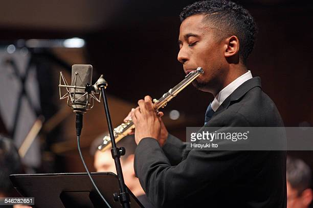 """Juilliard Jazz Ensemble performing the music of Israel """"Cachao"""" Lopez at Paul Hall on March 30, 2015.This image:Braxton Cook."""