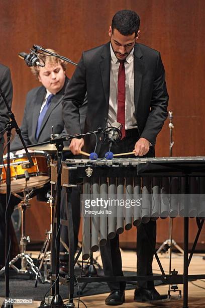 Juilliard Jazz Ensemble performing the music of Israel Cachao Lopez at Paul Hall on March 30 2015This imageDouglas Marriner left and Joseph Doubleday