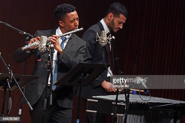 Juilliard Jazz Ensemble performing the music of Israel Cachao Lopez at Paul Hall on March 30 2015This imageBraxton Cook left and Joseph Doubleday