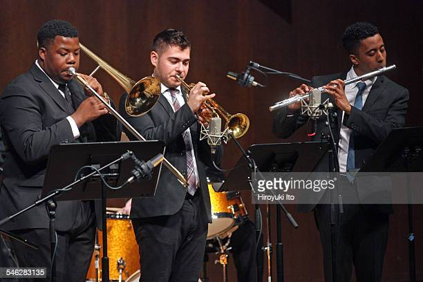 Juilliard Jazz Ensemble performing the music of Israel Cachao Lopez at Paul Hall on March 30 2015This imageFrom left Jeffery Miller Enrique Sanchez...
