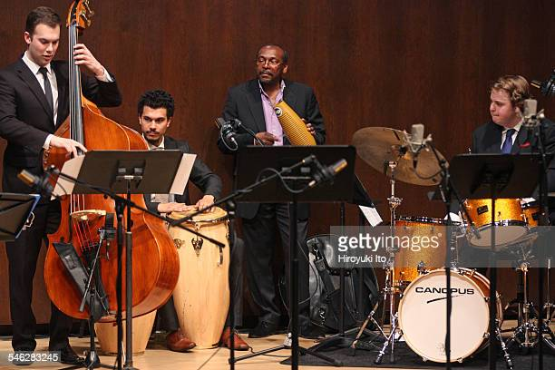 Juilliard Jazz Ensemble performing the music of Israel Cachao Lopez at Paul Hall on March 30 2015This imageFrom left Karl Kohut Charles Goold Jimmy...