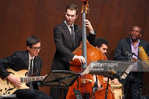 Juilliard Jazz Ensemble performing the music of Israel Cachao Lopez at Paul Hall on March 30 2015This imageFrom left Lake Jiroudek Karl Kohut Charles...