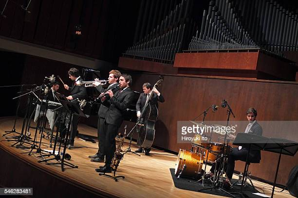 Juilliard Jazz Ensemble performing the music of John Kirby at Paul Hall on March 30 2015This imageFrom left Mathis Picard Jacob Chapman Gabriel Medd...