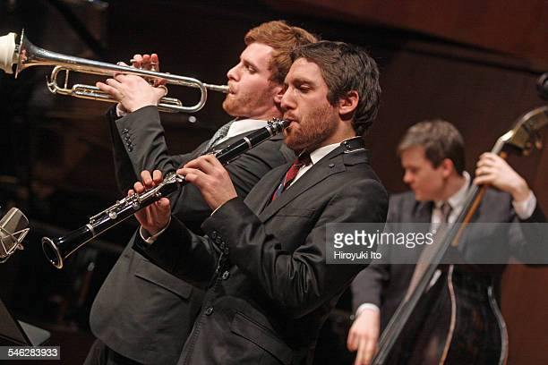 Juilliard Jazz Ensemble performing the music of John Kirby at Paul Hall on March 30, 2015.This image:From left, Gabriel Medd, Dean Tsur and Dan...