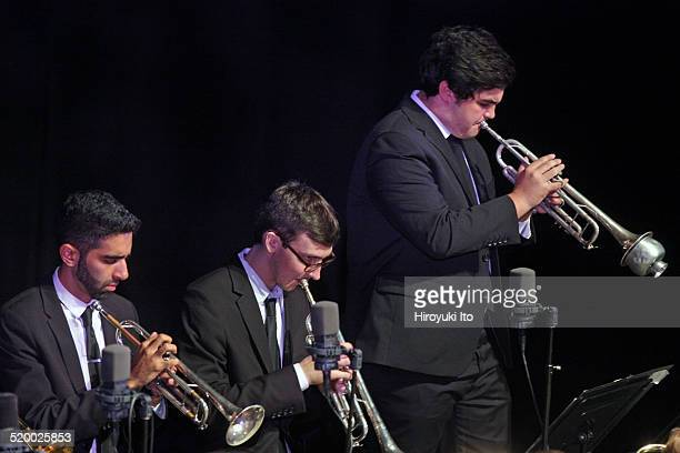 Juilliard Jazz Orchestra at Peter Jay Sharp Theater on Tuesday night, October 14, 2014.This image:From left, Riley Mulherkar, Nathan Sparks and Noah...