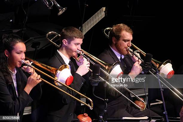 Juilliard Jazz Orchestra at Peter Jay Sharp Theater on Tuesday night, October 14, 2014.This image:From left, Kalia Vandever, Kyle Johnson and William...