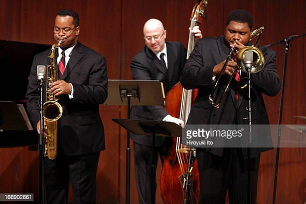 Juilliard Jazz Quintet performing at Paul Hall on Friday night, November 11, 2005.This image:From left, Victor L. Goines , Ben Wolfe and Wycliffe...