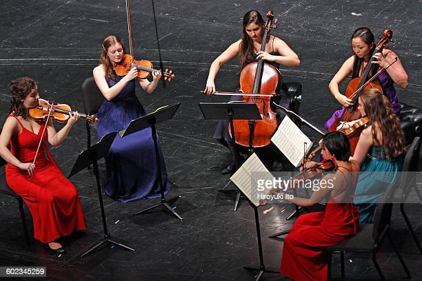 Juilliard School's ChamberFest 2016 at Peter Jay Sharp Theater on Saturday night, January 16, 2016.This image:Clockwise from left, Alice...
