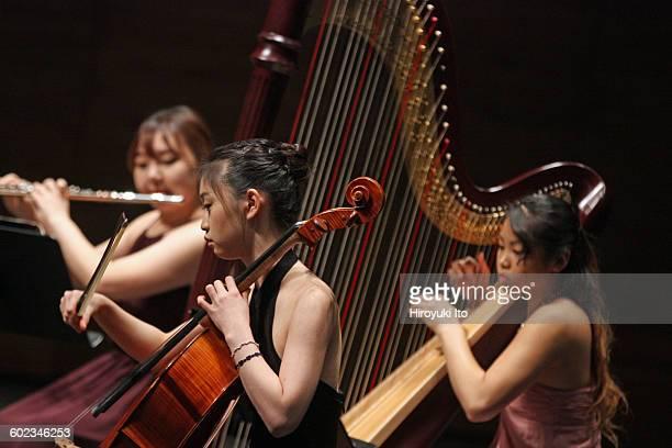Juilliard School's ChamberFest 2016 at Peter Jay Sharp Theater on Saturday night January 16 2016This imageFrom left Yerim Choi Ye Jin Choi and Katy...