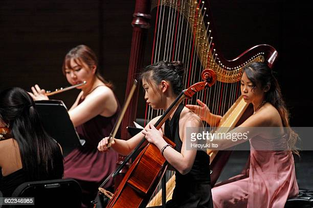 Juilliard School's ChamberFest 2016 at Peter Jay Sharp Theater on Saturday night, January 16, 2016.This image:From left, Yerim Choi, Ye Jin Choi and...