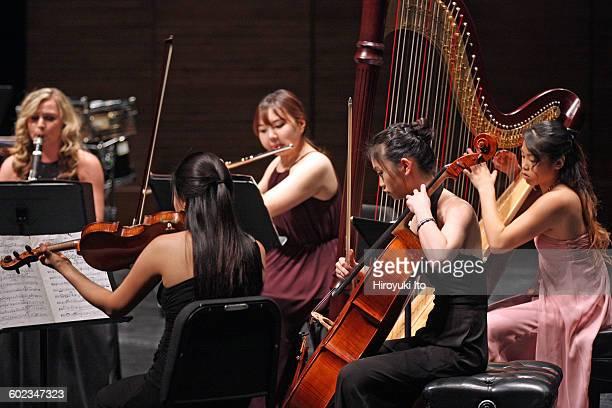 Juilliard School's ChamberFest 2016 at Peter Jay Sharp Theater on Saturday night January 16 2016This imageFrom left Sydney Lusby Esther Kim Yerim...
