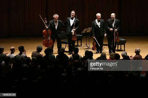 Juilliard String Quartet performing Bartok's string quartets at Alice Tully Hall on Friday night November 10 2006From left Joel Smirnoff Ronald Copes...