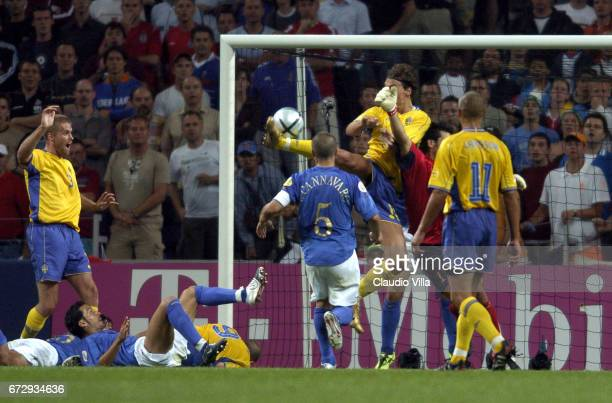 Zlatan Ibrahimovic of Sweden scores the goal during Euro 2004 match played between Italy and Sweden at Dragao stadium in Porto, Portugal.