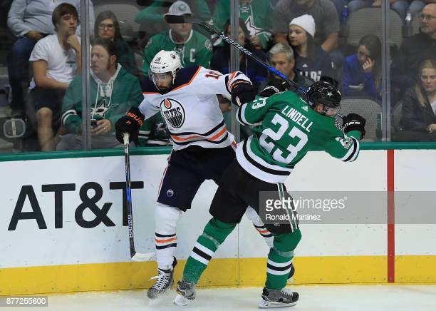 Jujhar Khaira of the Edmonton Oilers and Esa Lindell of the Dallas Stars in the third period at American Airlines Center on November 18 2017 in...