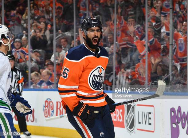 Jujhar Khaira of the Edmonton Oilers celebrates after a goal during the game against the Vancouver Canucks on January 20 2017 at Rogers Place in...