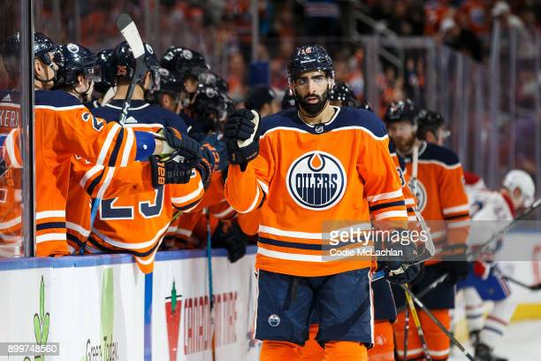Jujhar Khaira of the Edmonton Oilers celebrates his goal against the Montreal Canadiens at Rogers Place on December 23 2017 in Edmonton Canada