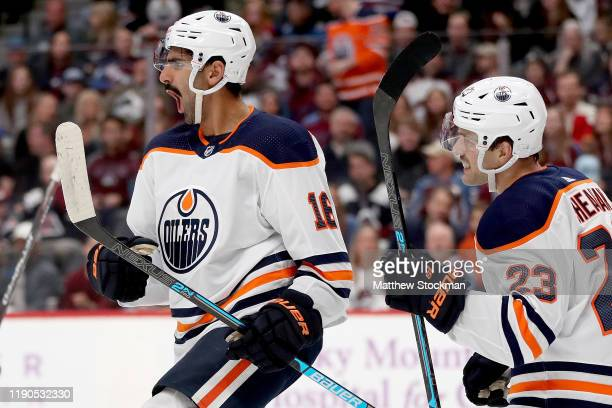 Jujhar Khaira of the Edmonton Oilers celebrates with Riley Sheahan after scoring a goal against the Colorado Avalanche in the first period at the...