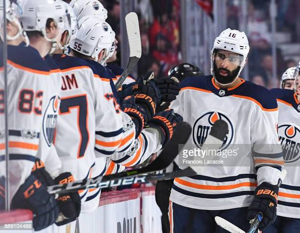 Jujhar Khaira of the Edmonton Oilers celebrates with the bench after scoring a goal against the Montreal Canadiens in the NHL game at the Bell Centre...