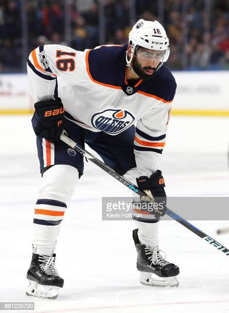 Jujhar Khaira of the Edmonton Oilers during the game against the Buffalo Sabres at the KeyBank Center on November 24 2017 in Buffalo New York