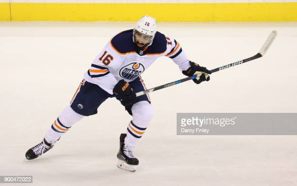 Jujhar Khaira of the Edmonton Oilers follows the play down the ice during first period action against the Winnipeg Jets at the Bell MTS Place on...