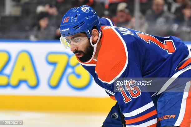 Jujhar Khaira of the Edmonton Oilers lines up for a face off during the game against the Winnipeg Jets on December 31 2018 at Rogers Place in...
