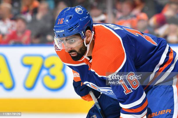 Jujhar Khaira of the Edmonton Oilers lines up for a face off during the game against the Calgary Flames on December 9 2018 at Rogers Place in...