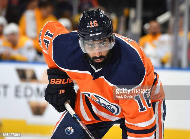 Jujhar Khaira of the Edmonton Oilers lines up for a face off during the game against the Nashville Predators on December 14 2017 at Rogers Place in...