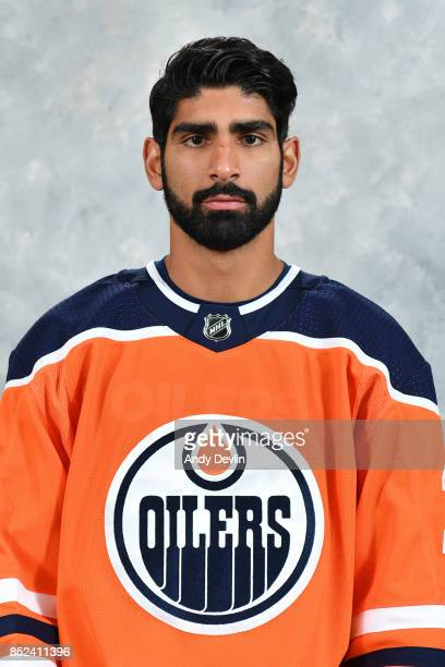 Jujhar Khaira of the Edmonton Oilers poses for his official headshot for the 20172018 season on September 14 2017 at Rogers Place in Edmonton Alberta...