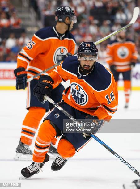Jujhar Khaira of the Edmonton Oilers skates against the Calgary Flames at Rogers Place on October 4 2017 in Edmonton Canada