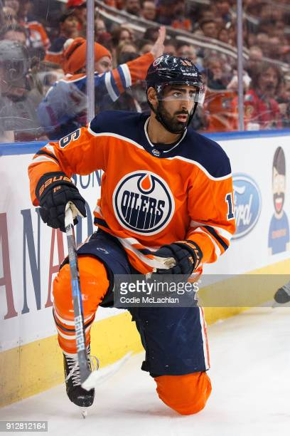 Jujhar Khaira of the Edmonton Oilers skates against the Calgary Flames at Rogers Place on January 25 2018 in Edmonton Canada