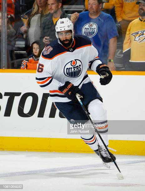 Jujhar Khaira of the Edmonton Oilers skates against the Nashville Predators at Bridgestone Arena on October 27 2018 in Nashville Tennessee