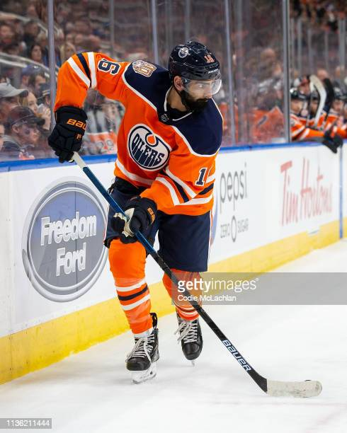 Jujhar Khaira of the Edmonton Oilers skates against the New York Rangers at Rogers Place on March 11 2019 in Edmonton Alberta Canada