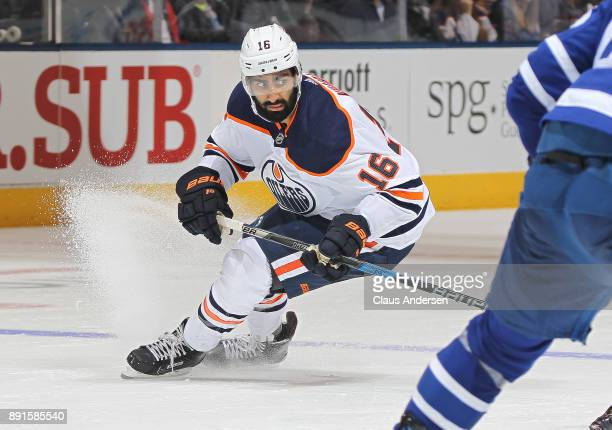 Jujhar Khaira of the Edmonton Oilers skates against the Toronto Maple Leafs during an NHL game at the Air Canada Centre on December 10 2017 in...