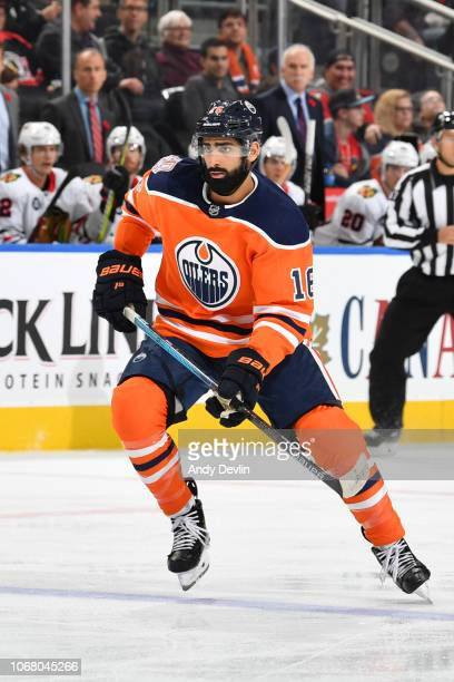 Jujhar Khaira of the Edmonton Oilers skates during the game against the Chicago Blackhawks on November 1 2018 at Rogers Place in Edmonton Alberta...