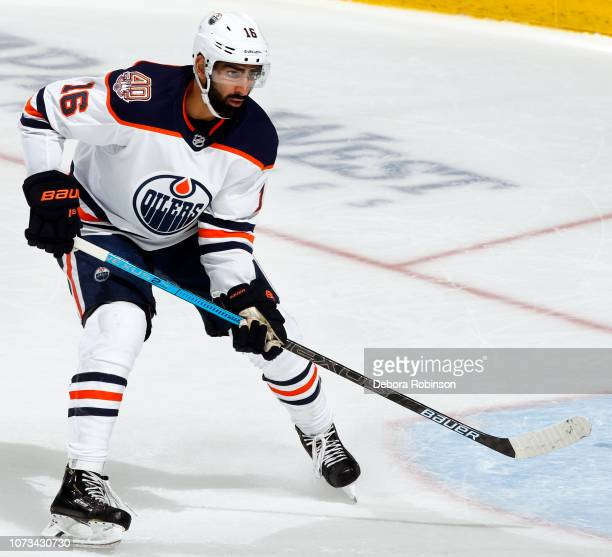 Jujhar Khaira of the Edmonton Oilers skates during the game against the Anaheim Ducks on November 23 2018 at Honda Center in Anaheim California