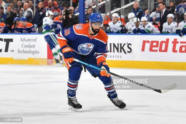 Jujhar Khaira of the Edmonton Oilers skates during the game against the Vancouver Canucks on March 7 2019 at Rogers Place in Edmonton Alberta Canada