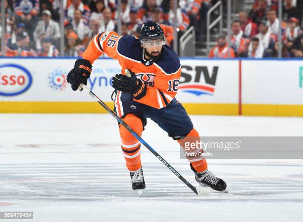 Jujhar Khaira of the Edmonton Oilers skates during the game against the Calgary Flames on October 4 2017 at Rogers Place in Edmonton Alberta Canada