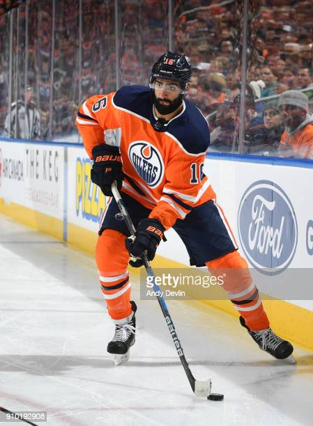 Jujhar Khaira of the Edmonton Oilers skates during the game against the San Jose Sharks on December 18 2017 at Rogers Place in Edmonton Alberta Canada