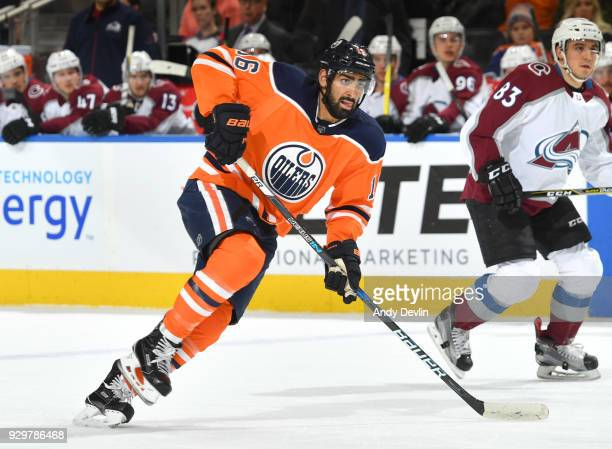 Jujhar Khaira of the Edmonton Oilers skates during the game against the Colorado Avalanche on February 1 2018 at Rogers Place in Edmonton Alberta...