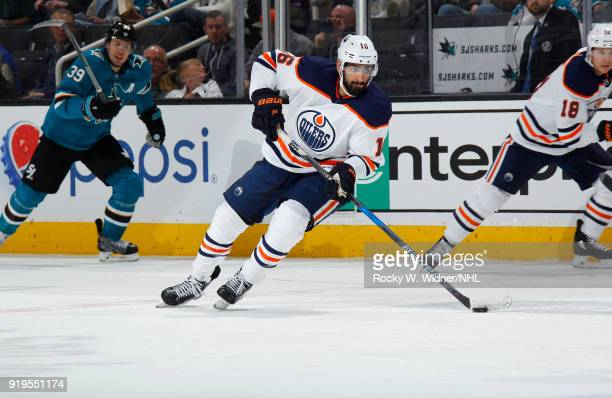 Jujhar Khaira of the Edmonton Oilers skates with the puck against the San Jose Sharks at SAP Center on February 10 2018 in San Jose California