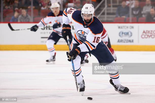 Jujhar Khaira of the Edmonton Oilers skates with the puck during the second period of the NHL game against the Arizona Coyotes at Gila River Arena on...