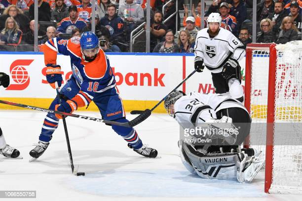 Jujhar Khaira of the Edmonton Oilers skates with the puck in front of Jonathan Quick of the Los Angeles Kings on November 29 2018 at Rogers Place in...